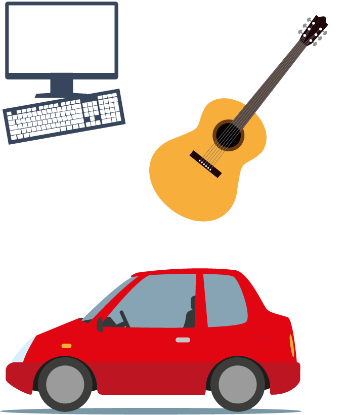 Computer, guitar, red car