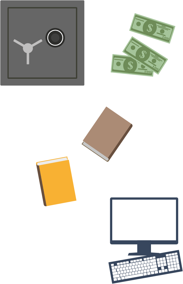 Vault, money, documents, computer